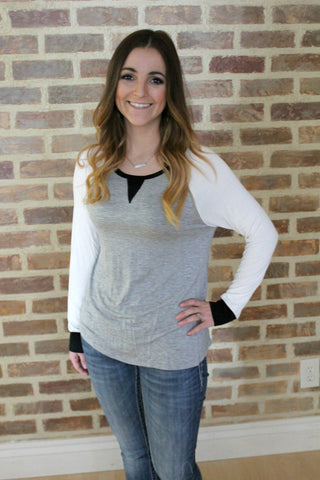 Bailee Raglan Top - Grey