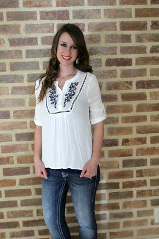 Kenzie Peasant Top - White