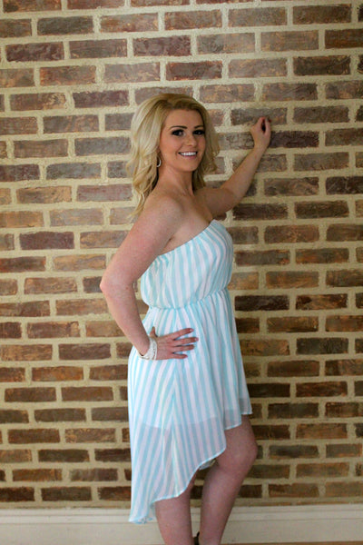 Mint and White Vertical Striped Tube Dress