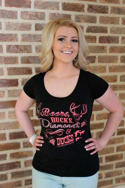 Beers, Bucks, Diamonds & Ducks Shirt - Jourdan's Jewels