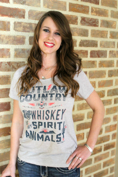 Outlaw Country & Whiskey are my Spirit Animals Shirt