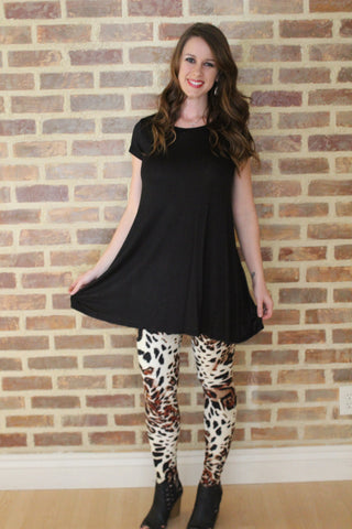 Black Short Sleeve Swing Tunic