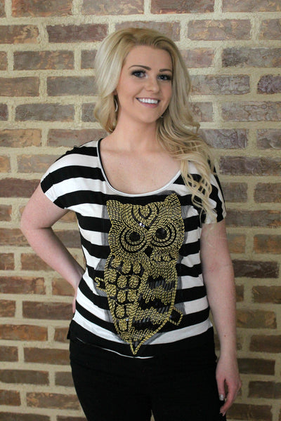 Black and White Striped Owl Top
