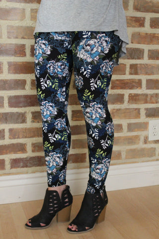 Black and Blue Floral Print Leggings