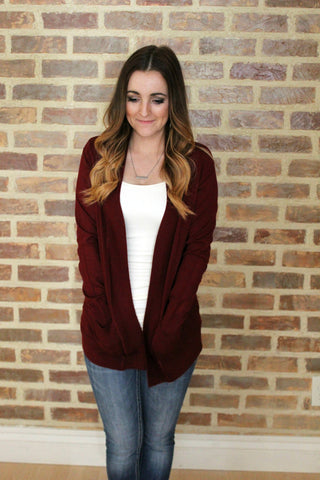 Pocket Cardigan - Burgundy