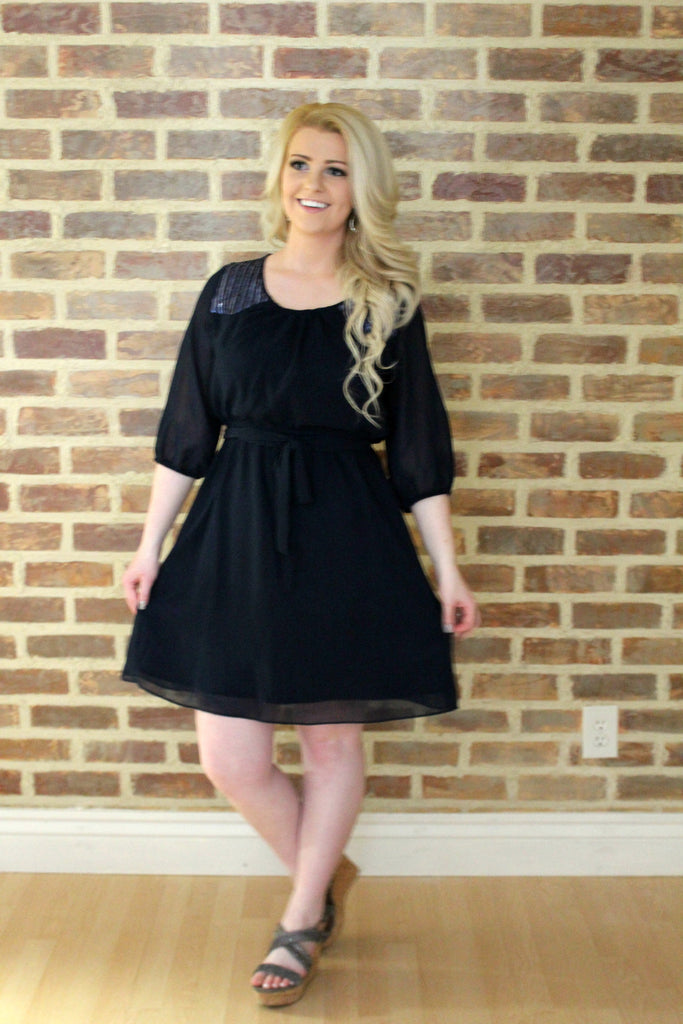 Navy Sequin Dress - MEDIUM - Jourdan's Jewels