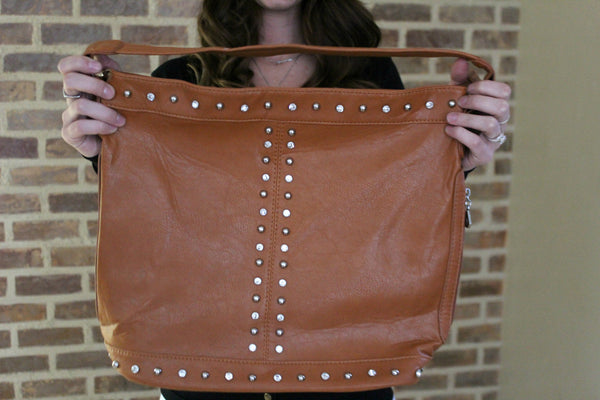 Cognac Shoulder Purse - Jourdan's Jewels