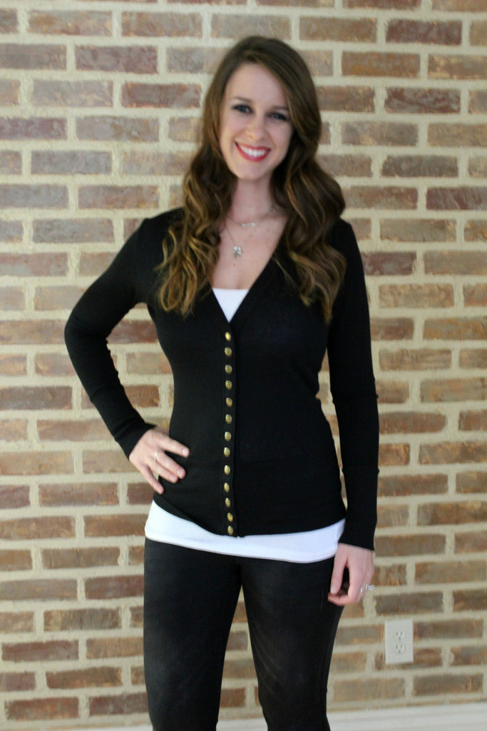 Snap Cardigan - Black - Jourdan's Jewels