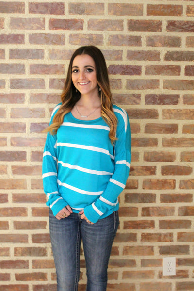 Teal and Ivory Striped Loose Long Sleeve Shirt