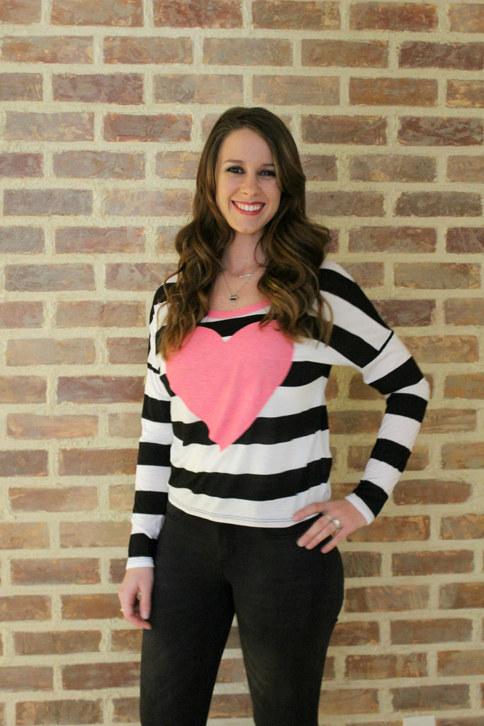 Black and White Striped Long Sleeve with Pink Heart - Jourdan's Jewels