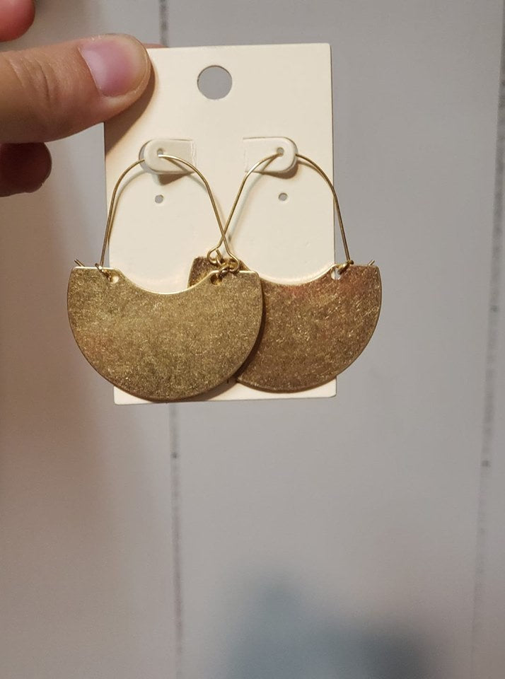 Lexie Earrings - Gold Dangle Shield - Jourdan's Jewels