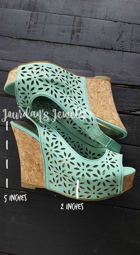 Mint Baby Doll Wedges