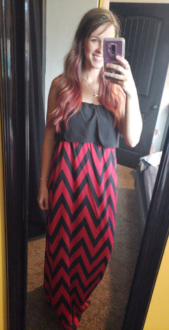 Jessa Chevron Tube Top Maxi Dress - Black and Red - Jourdan's Jewels