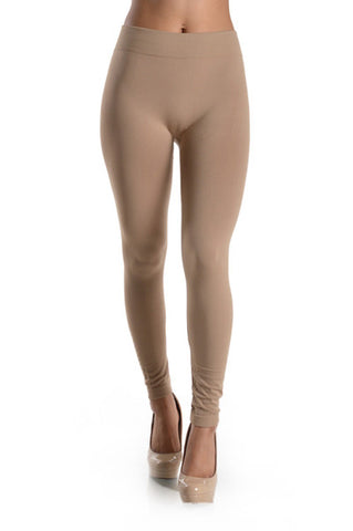 Beige Fleece Lined Leggings - Jourdan's Jewels