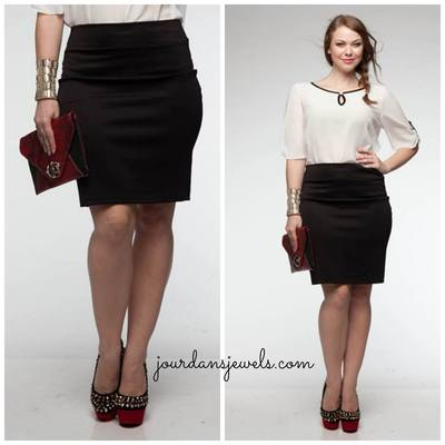 Black Pencil Skirt - Plus - Jourdan's Jewels
