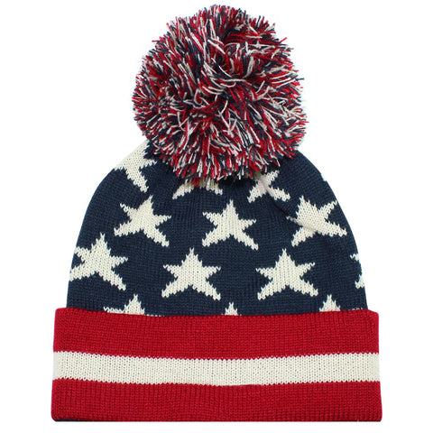 American Flag Pom Beanie - Jourdan's Jewels