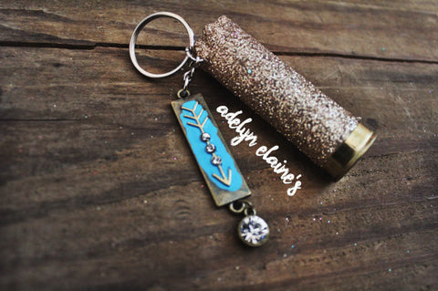 Gold Glitter Bullet and Arrow Keychain - Jourdan's Jewels