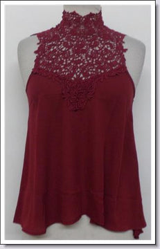 Burgundy Lace Neck Tank Top