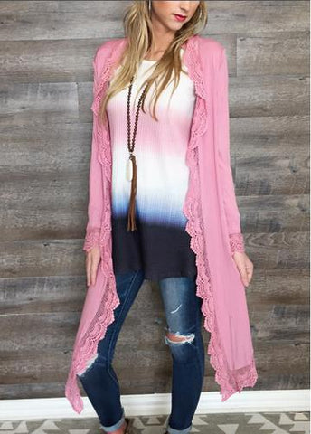 Blush Long Sleeve Cardigan with Lace Trim