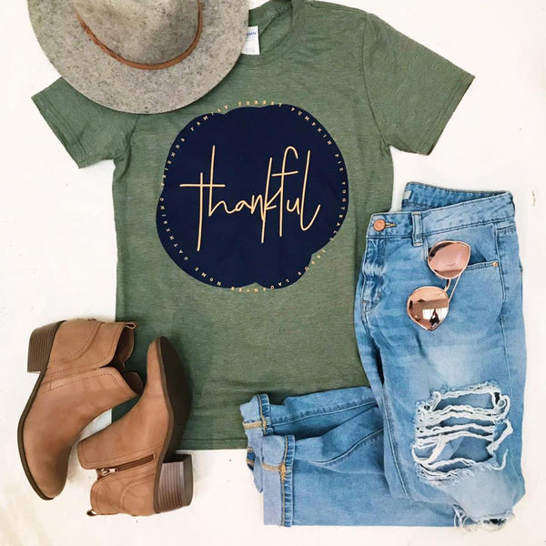 Olive Thankful Graphic Tee - Jourdan's Jewels