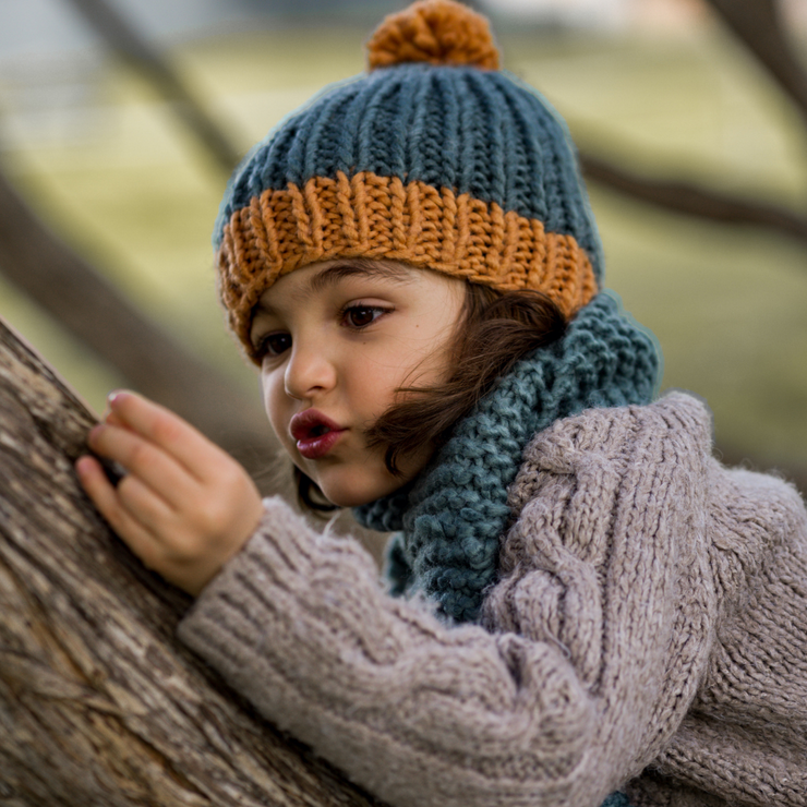 Acorn Kids Winter beanie with pom pom on boy