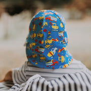 Back view of Bedhead Hats Construction print baby hat