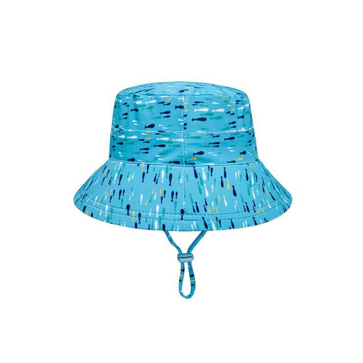back view of Bedhead Hats fish print bucket hat with chin strap