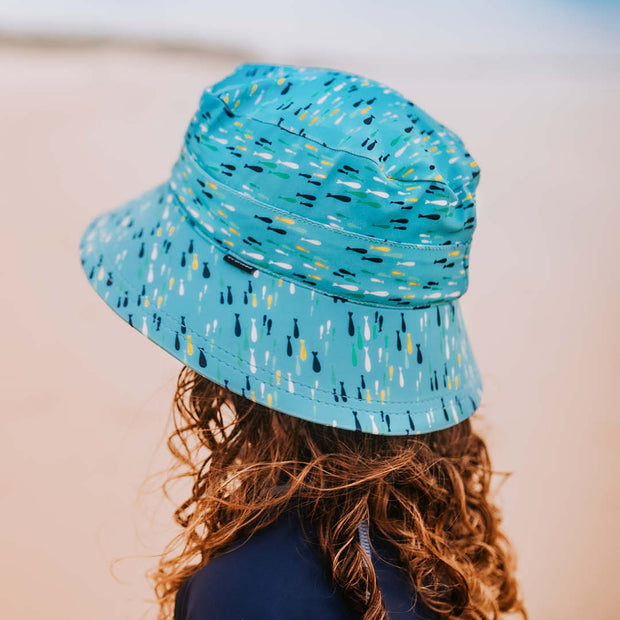 side view of Bedhead Hats Fish Print swim hat