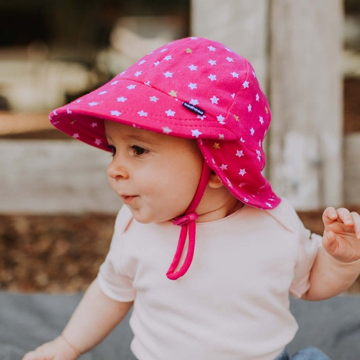 Side view of Bedhead Hats legionnaire hat on baby girl