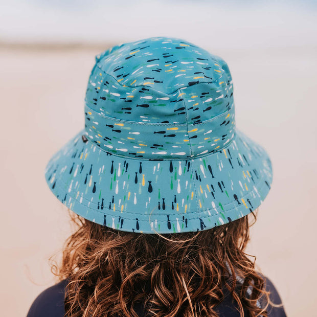 Back view of Bedhead Hats fish print on boy