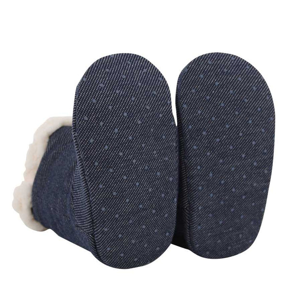 Bedhead booties outsole view with rubber grip spots