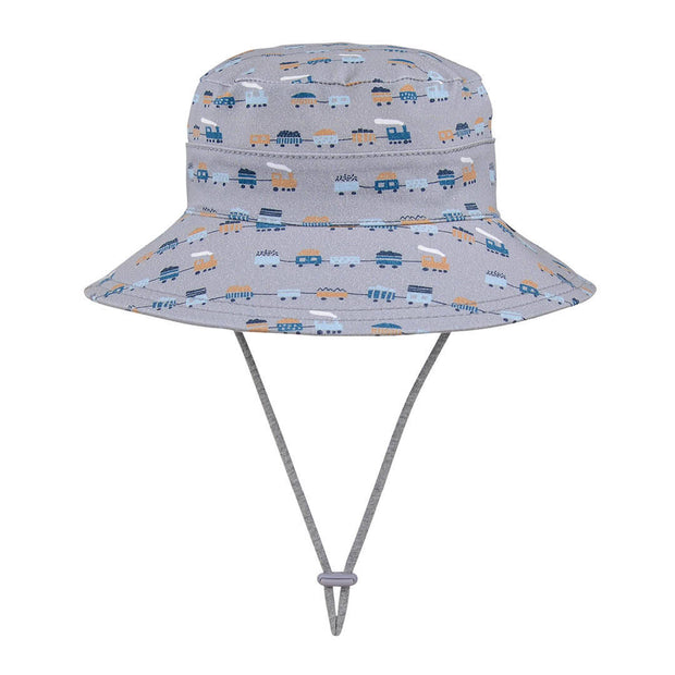 Side view of grey marle bucket hat by Bedhead Hats with trains