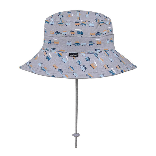 Back view of Bedhead Hats trains toddler bucket hat