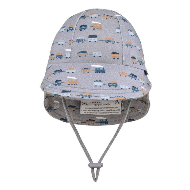 Bedhead Hats legionnaire baby hat trains print front view
