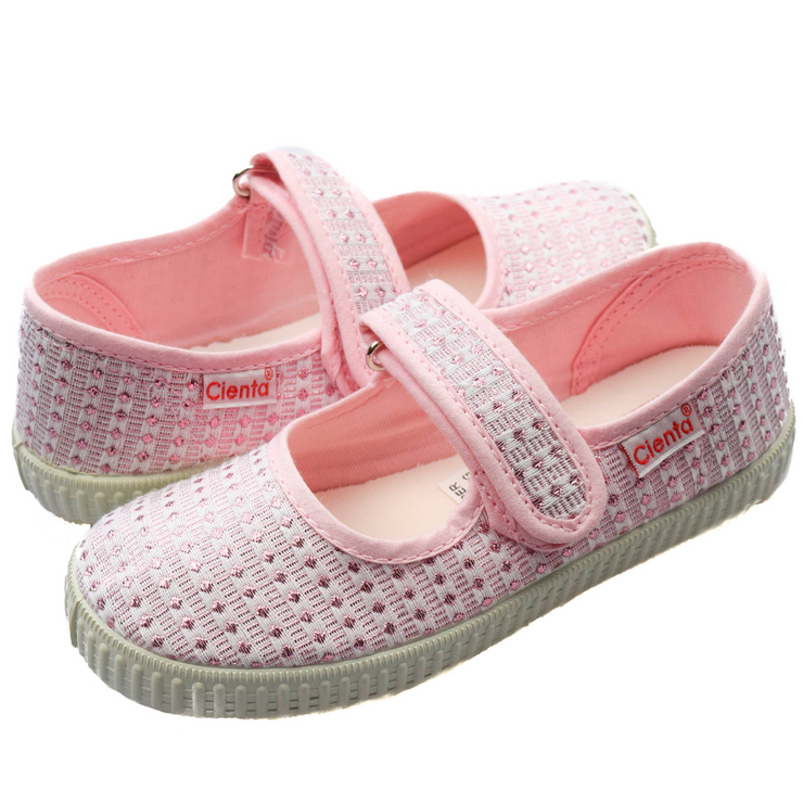 CIENTA ROSA SPARKLE Pink Canvas Mary Janes
