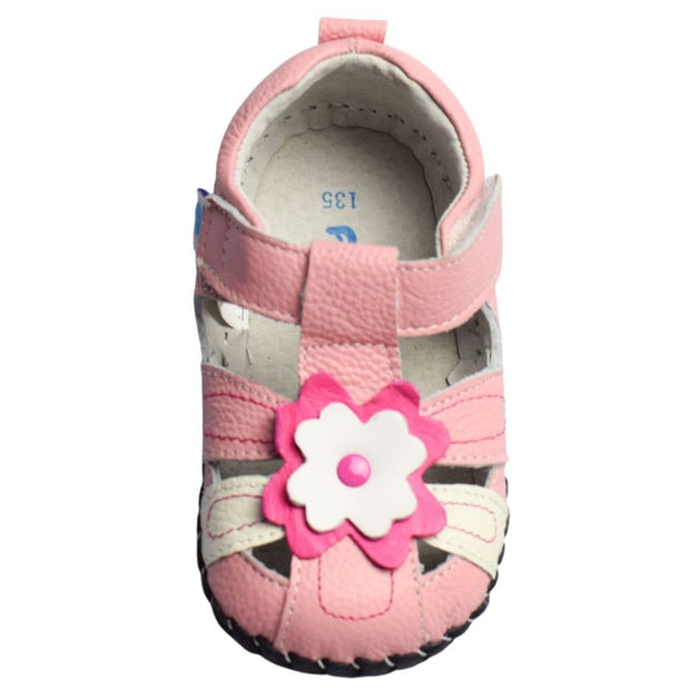 Freycoo Daisy Soft Sole Baby Sandals with velcro strap overhead view