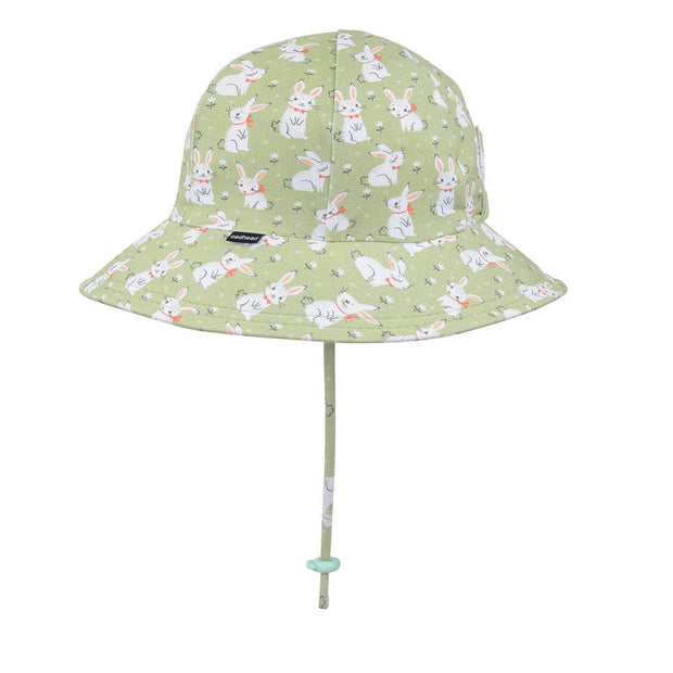 Bedhead Hats Ponytail bucket hat for girls with rabbits on it