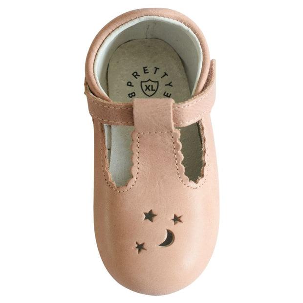 Pretty Brave Stardust baby shoe with moon and stars