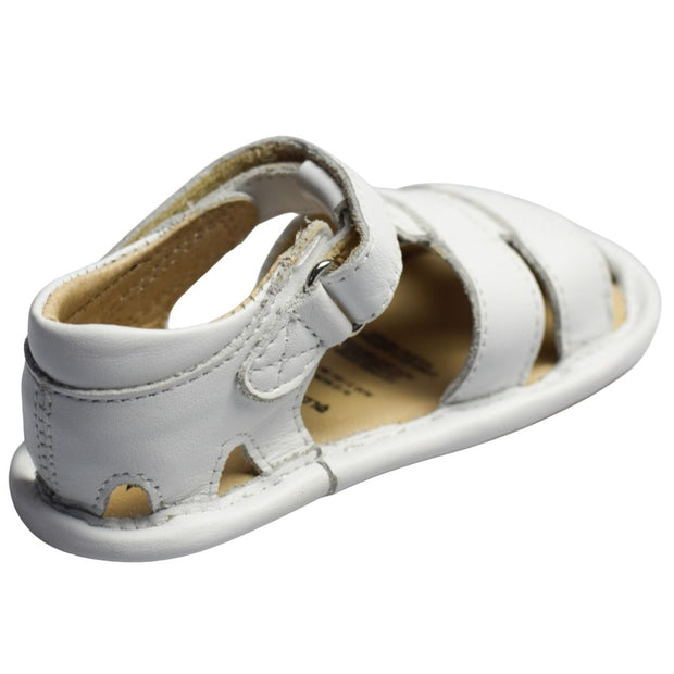 Old Soles Sandy Sandal in white for toddlers with velcro strap