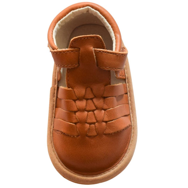 Pretty Brave Piper Sierra tan baby sandals overhead view