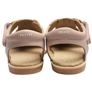 Pretty Brave Blush leather sandals close up of branding on heel straps