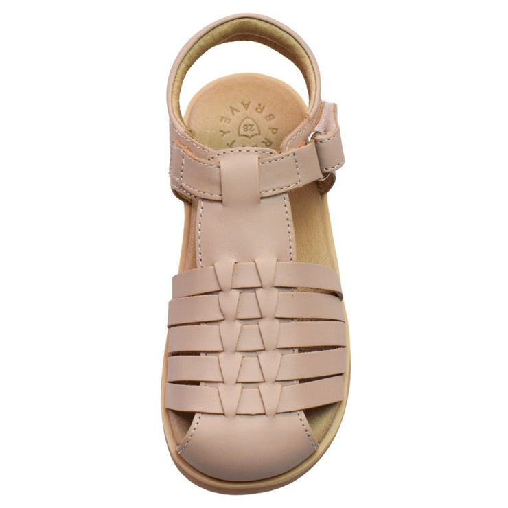 Pretty Brave Blush leather sandals overhead view
