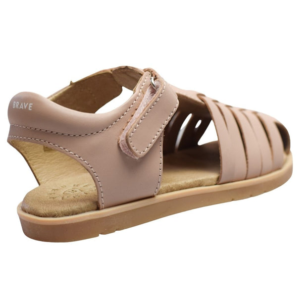 Pretty Brave toddler leather sandals velcro close up
