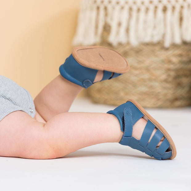 Pretty Brave Rio Denim baby sandals on child
