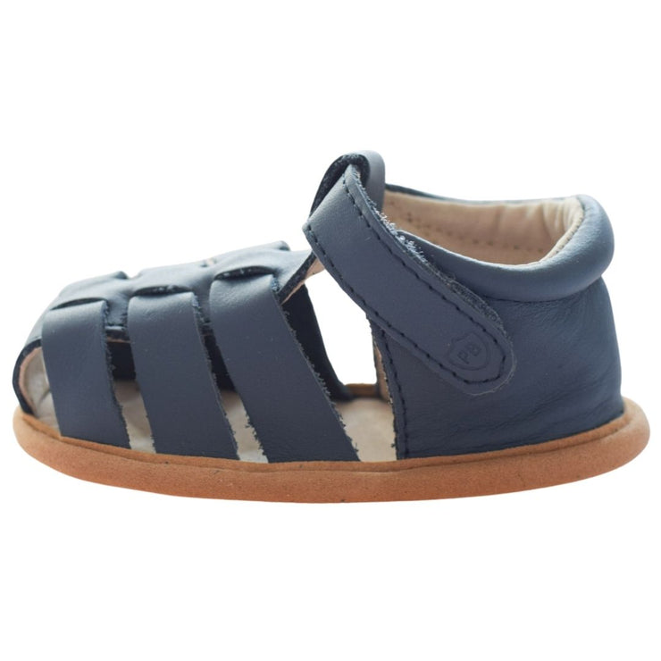Pretty Brave Rio Denim leather baby sandals with velcro strap side view