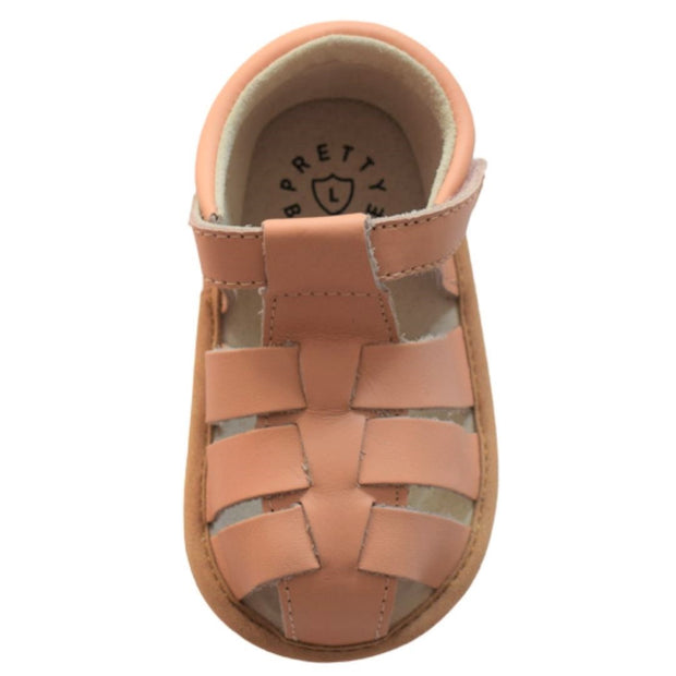 Pretty Brave Rio Salmon toddler sandals over head view