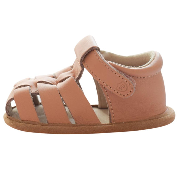 Pretty Brave Rio Salmon baby sandals with velcro strap side view