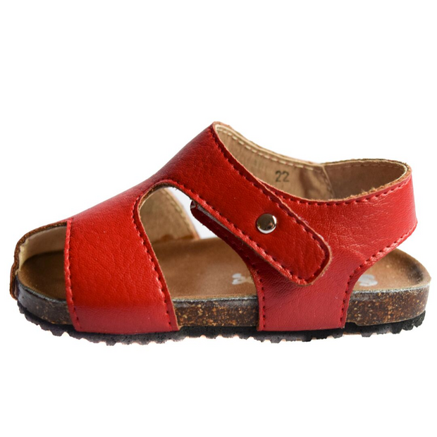 ScruffyDog Buddy Sandals Red side view with velcro strap