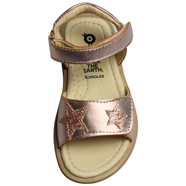 Old Soles Star Born Glam Copper Girl Sandals with velcro straps