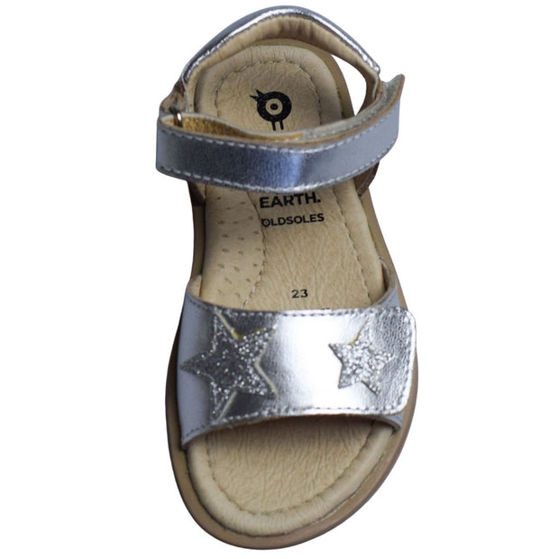 Old Soles Star Born Silver Sandals for girls overhead view